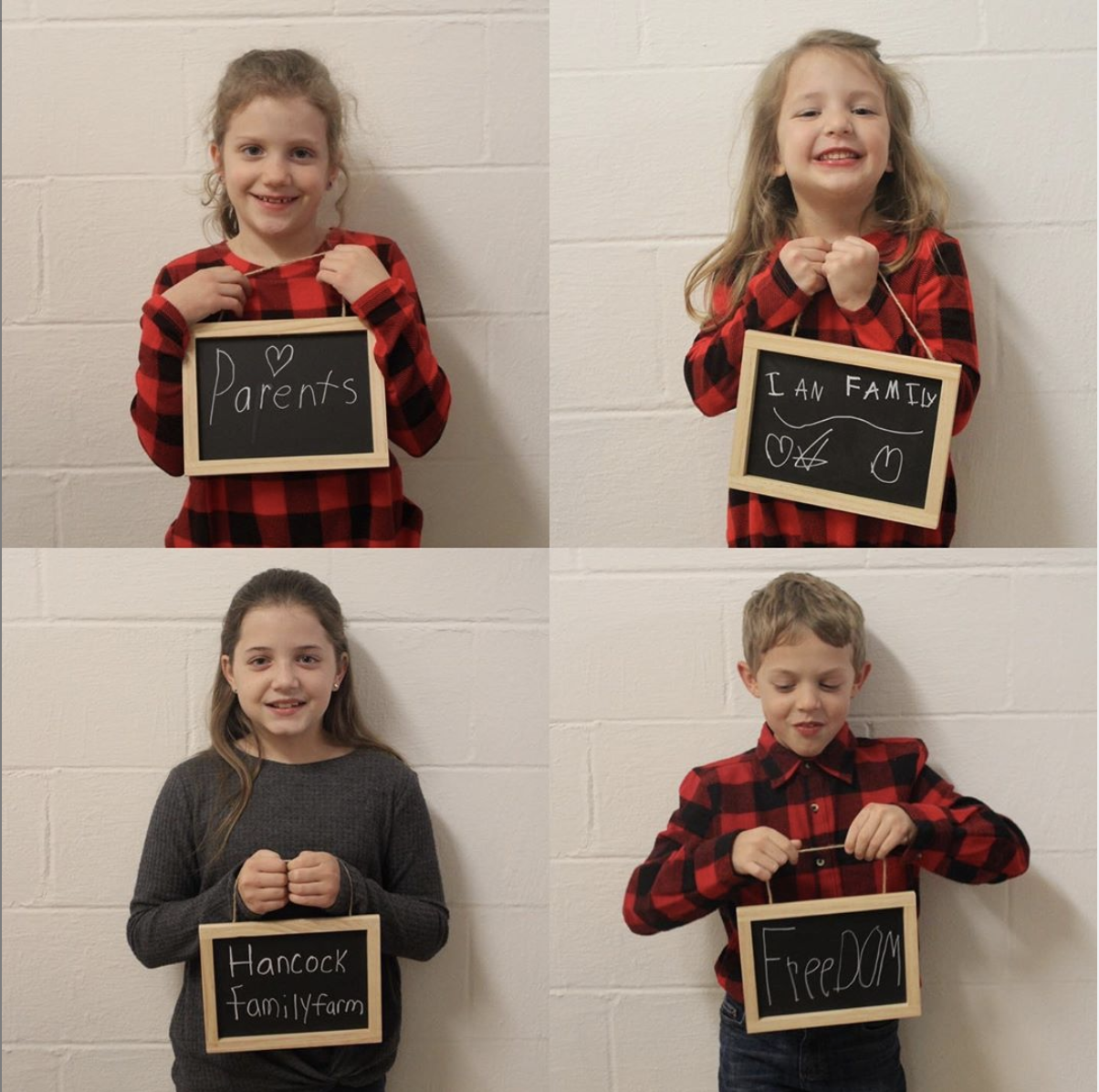 children showing what they are thankful for