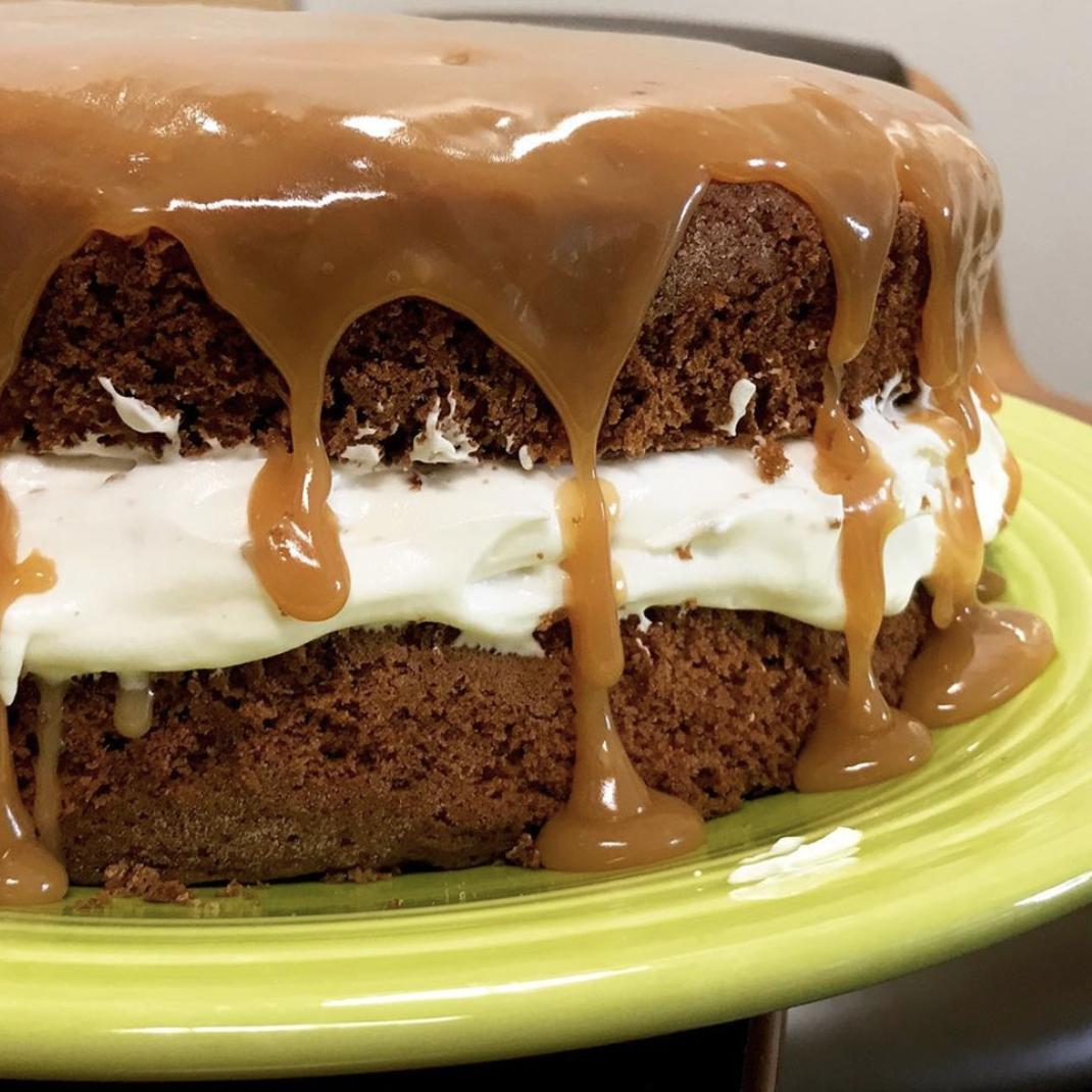 caramel bourbon spiced cake