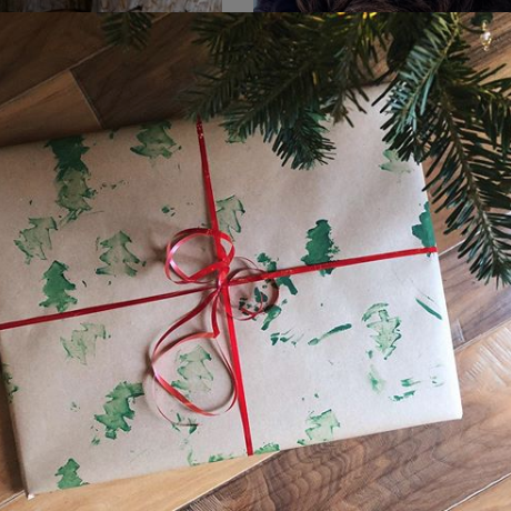 Instagram photo of homemade wrapping paper